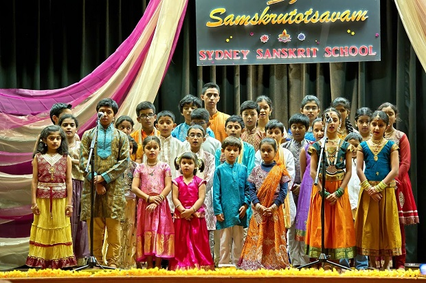 Students of Sydney Sanskrit School singing Australian National Anthem in Dharawal, Sanskrit and English