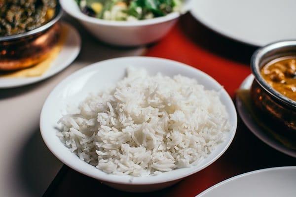 bowl of white boiled rice