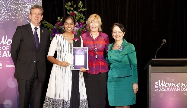 NSW Young Woman of the Year ceremony- Premier Barry O'Farrell, Lakshmi Logathassan, Katie Page CEO Harvey Norman, Pru Goward MP