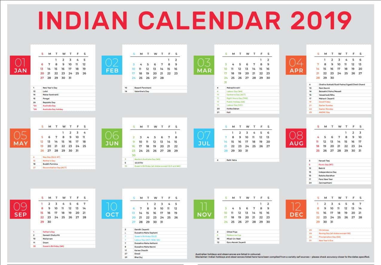 Indian Calendar 2019 Indian Calendar 2019   Indian Link