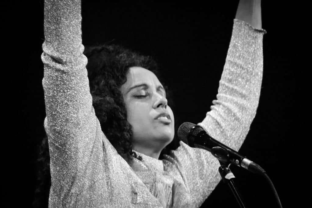 Susheela Raman in the act of adorning her music