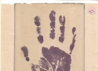 A 1946 palm-print of Gandhi taken in Kolkata