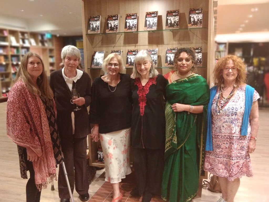 Editor Sharon Rundle (extreme left) with some of the writers who contributed to Glass Walls