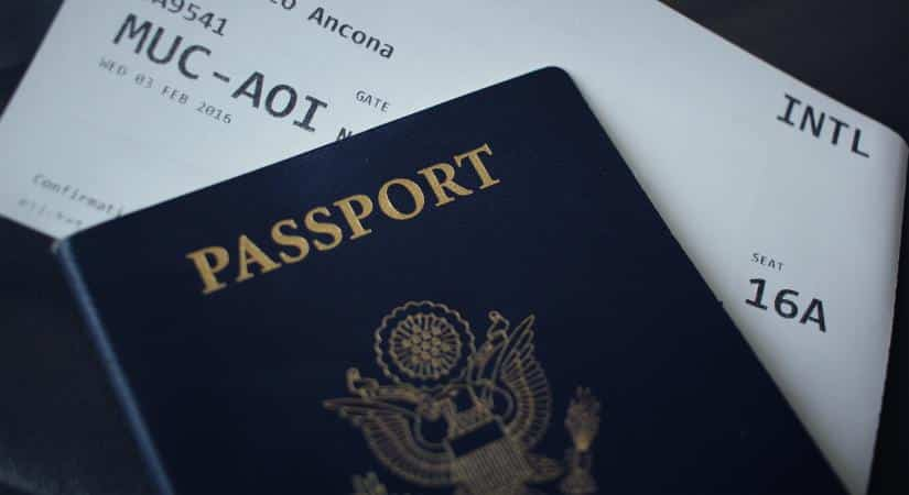 Shield the passport on a vacation