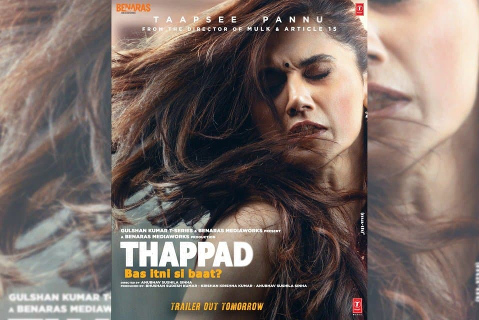 """Actress Taapsee Pannu has shared the first look poster of her upcoming film """"Thappad"""" in which it looks like she has been slapped hard by someone. The poster also has a thought provoking line - """"Thappad: Bas itni si baat?"""""""