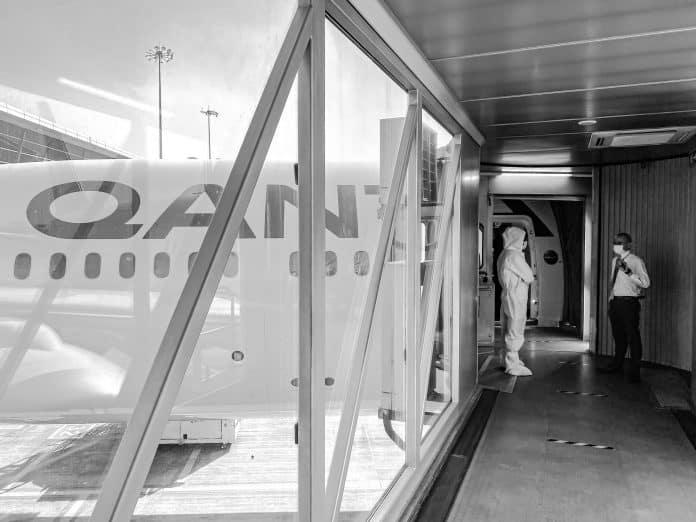boarding qantas repatriation flight
