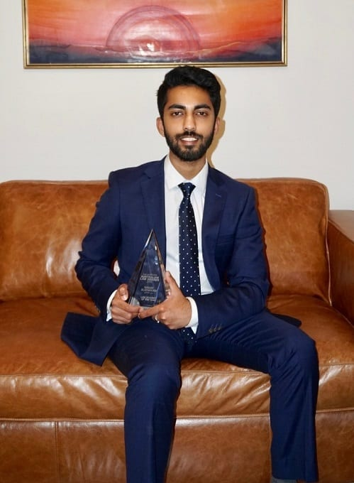 UNSW student Sanjay Alapakkam poses with his award