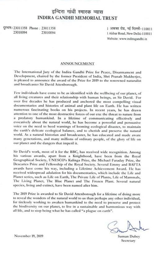 The Indira Gandhi PEace Prize statement naming David Attenborough as the winner for 2019.