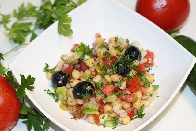 Indian style spring salad recipe for chickpea salad