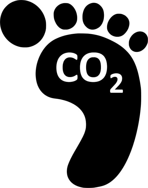 Google's net carbon footprint is now zero. This is a picture of print with CO2 in the middle.