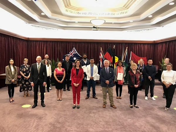 The city of Mitcham in SA welcomed 19 new citizens on Citizenship Day this year. This photo is from the ceremony.