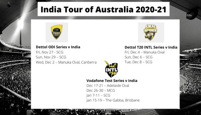 India Tour of Australia dates