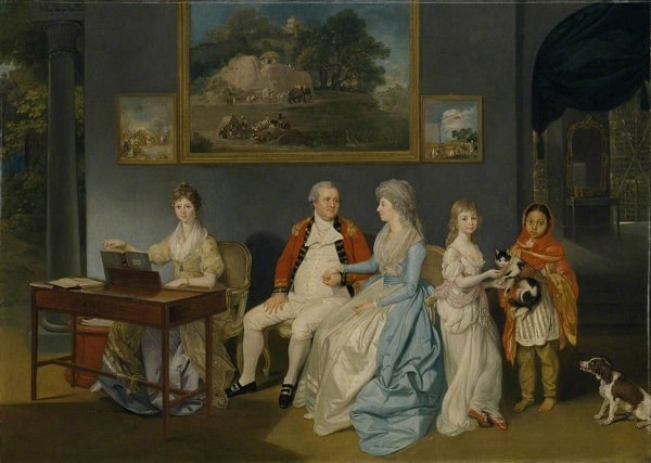 painting of colonel blair with family and indian ayah