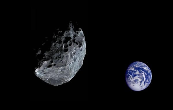 An asteroid travelling towards earth orbit. Not a picture of the one that will cross it today.