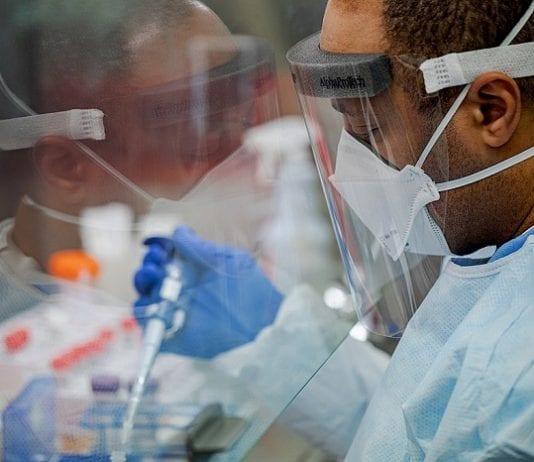 man in covid lab