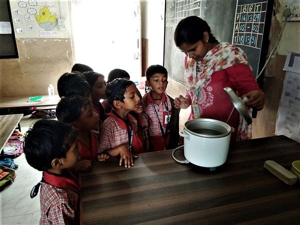 Gyanankur students learning about water vapour.