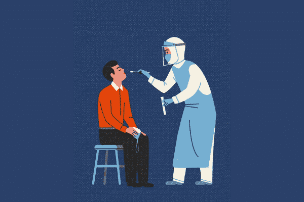 illustration showing a medical frontline worker conducting a covid test