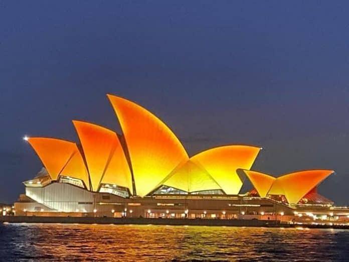 sydney opera ouse lit up for diwali