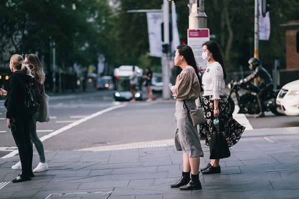 women wearing covid masks