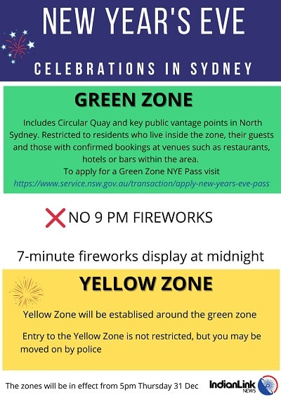 Infographic describing green and yellow zones for the New year's Eve (NYE) celebrations for this year.