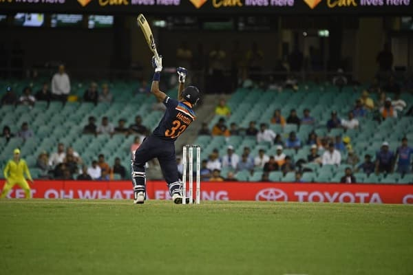 Hardik Pandya of India bats during the third ODI cricket match between Australia and India at Manuka Oval, Canberra, Wednesday, December 2, 2020.