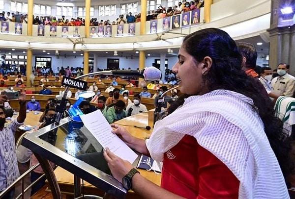 arya rajendran mayor of thiruvananthapuram