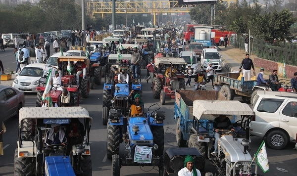 farmers truck protest in india