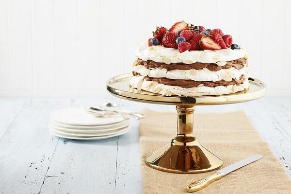Mocha mousse layered meringue cake