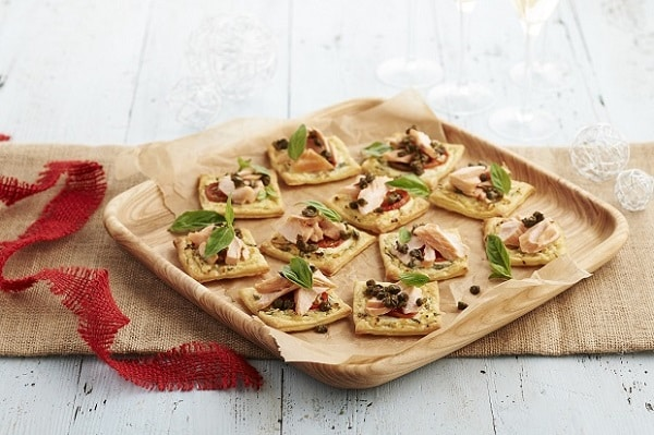 Basil ricotta and smoked trout tartlets