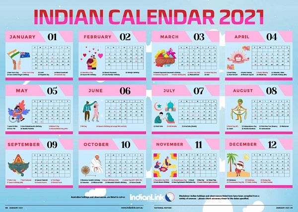 Indian calendar 2021