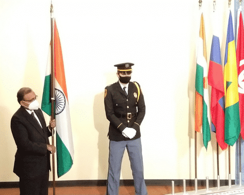 India's permanent diplomat to the United Nations T S Tirumurti at the flag installation ceremony. Source: IANS
