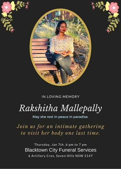 Rakshitha Mallepally indian international student killed, organ donation saves nine lives.