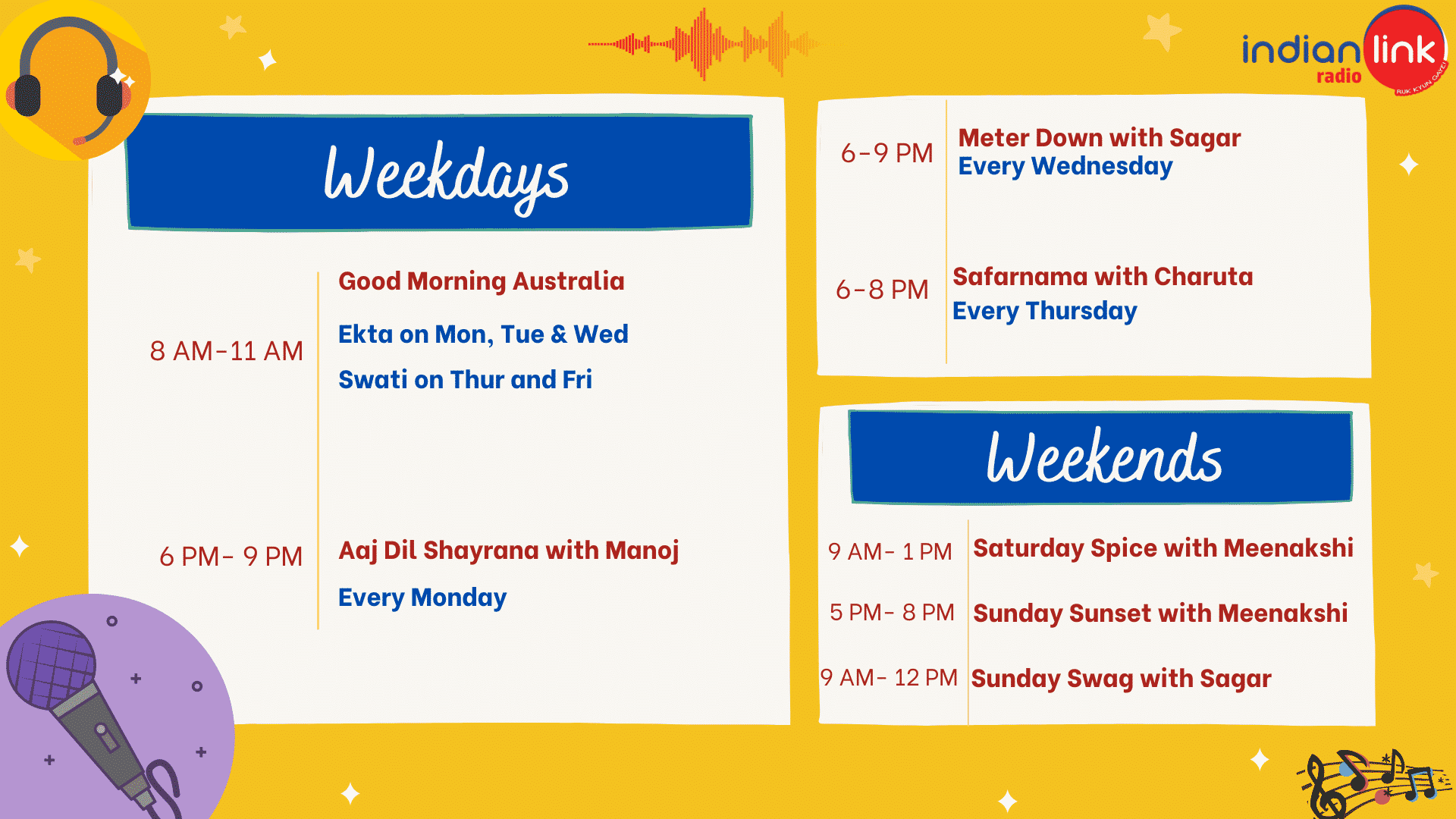 indian link radio Schedule