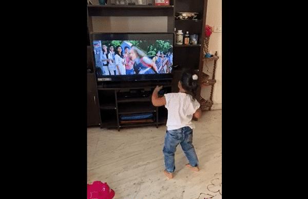 toddler dancing, copying tv
