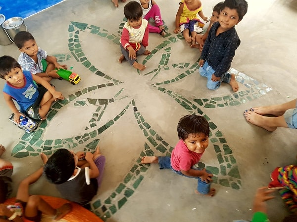 Children playing on the mosaic floor of Bholu 16