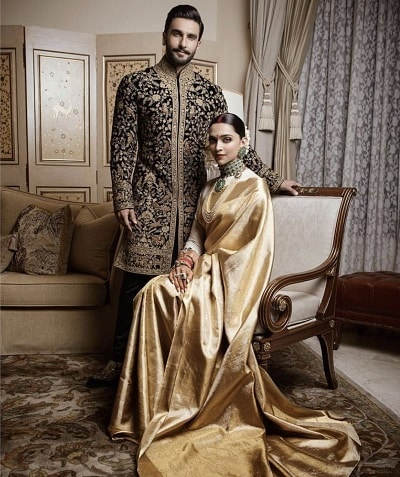 Deepika Padukone with her husband Ranveer Singh in the custom-made Advaya sari