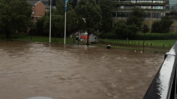 Flooding of Parramatta River.