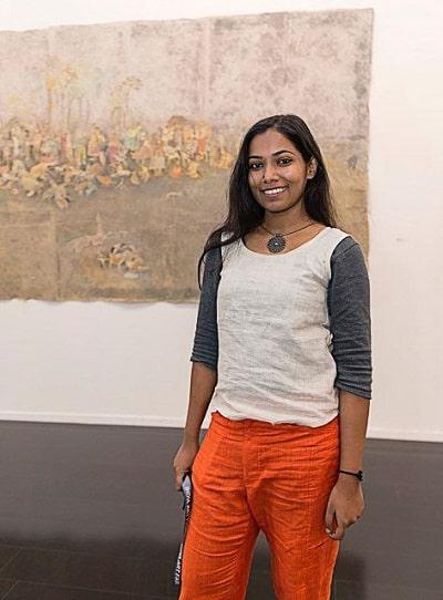 Siji Krishnan, Father's portrait 2016 (watercolour on rice paper) 134.6 x 315.0 cm. National Gallery of Victoria, Melbourne
