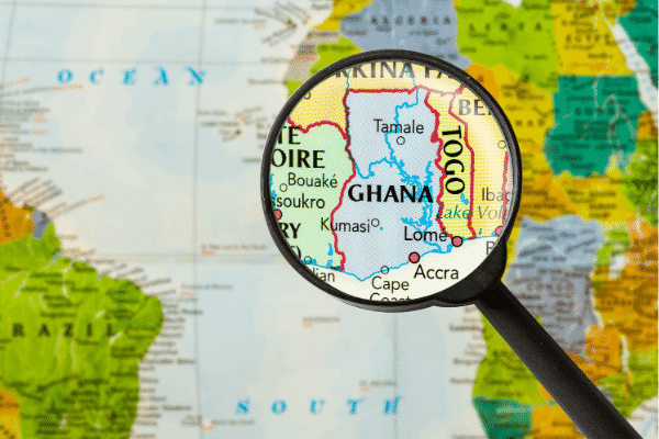 Tamale can be spotted on this map of Ghana.