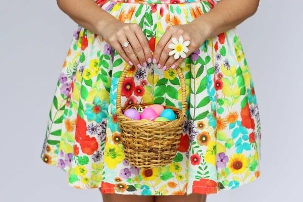 child holding easter basket