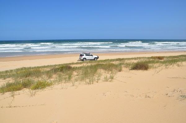 Driving along the beach