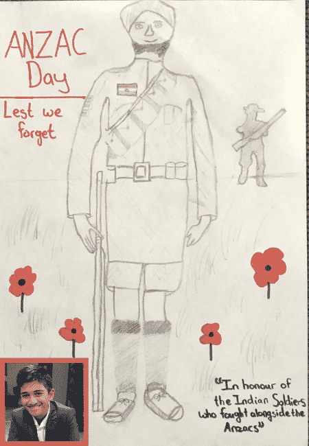 anzac day indian soldiers drawing
