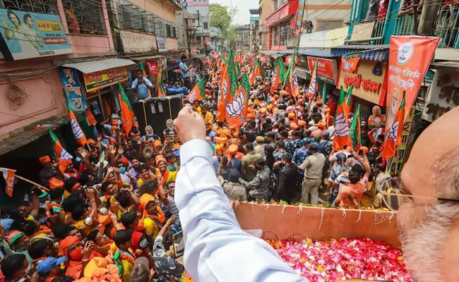 Home Minister Amit Shah at an election rally in early April. Source: NDTV