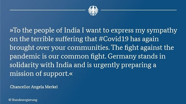 Germany's angel;a Merkel in solidarity with india during COVID