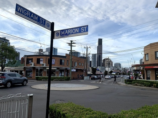 marion st and wigram st in harris park, sydney