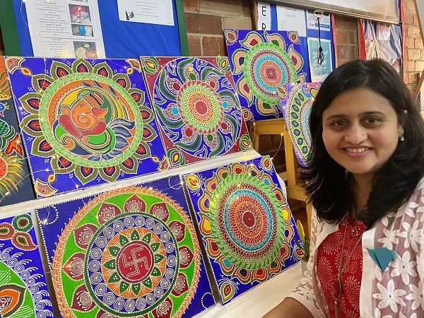 Artist Sonal Pitake at Art by Heart exhibition.