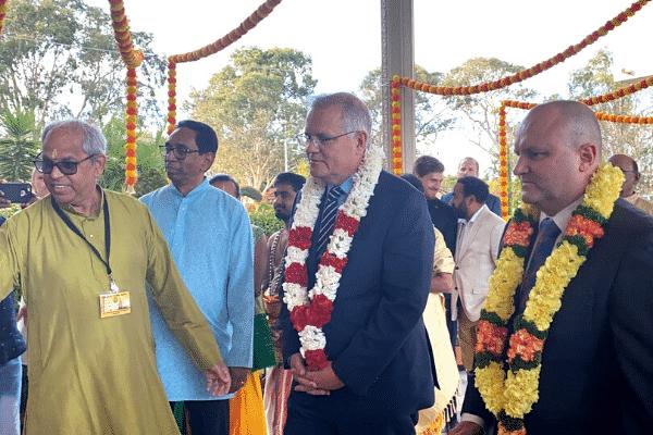 PM Scott Morrison at the Melbourne Shiva vishnu Temple