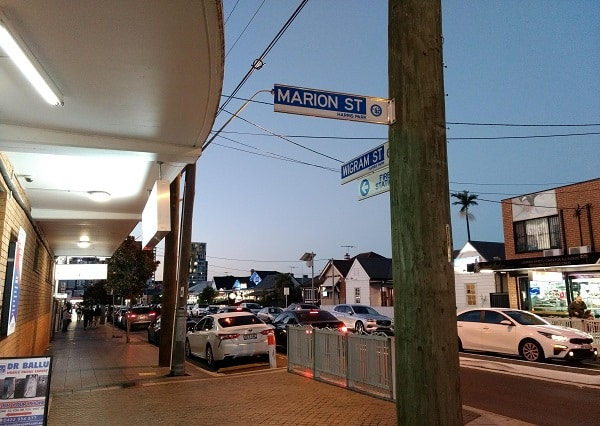 intersection of marion street and wigram street, harris park, sydney