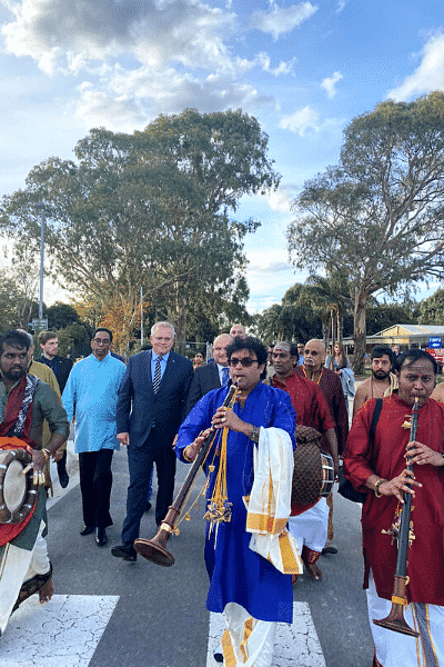 PM Scott Morrison at the melborne shiva vishnu temple in carrums down