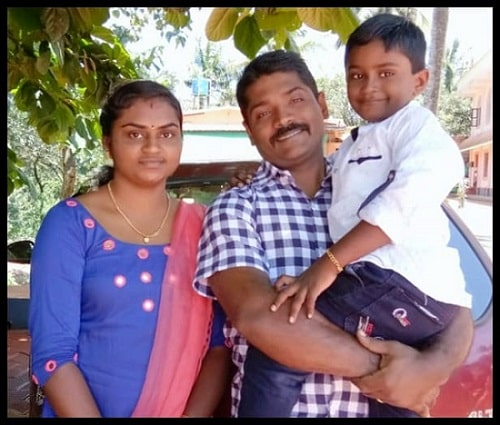 Soumya pictured here with her husband and son.